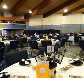A view of the banquet hall with the tables